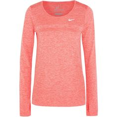 Nike Dri-FIT Knit stretch-jersey top ($89) ❤ liked on Polyvore featuring activewear, activewear tops, sports, sportswear, orange, nike activewear, nike sportswear and nike