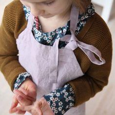 Tablier enfant en lin lavé (coloris doux) - Le Repère des Belettes