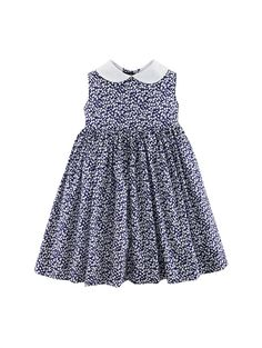 FLORAL PINAFORE DRESS - Oscar de la Renta Baby & Toddler -   This adorable pinafore dress with navy print is soft and sweet, just like your daughter. The Peter Pan collar gives an extra spoonful of sugar that makes this frock a real treat. Fully lined in pure cotton for a truly special touch.  100% cotton / lining: 100% cotton  Made in Portugal