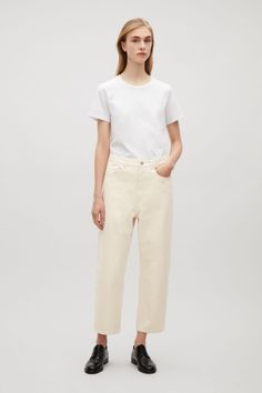 cheaper 97c0e 3158f COS image 1 of Straight-fit cropped jeans in Vanilla Minimal Chic, Vanilj,