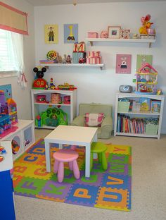Definitely going to work on this Playroom but more boy colors, more shelves, a white erase board, chalk board, tool bench. You know boys stuff.