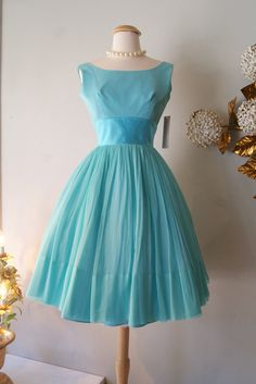 1960's Dress // Vintage 60s Tiffany Blue Chiffon by xtabayvintage, $248.00