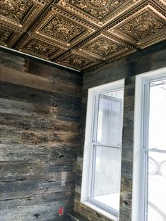 Rustic barn wood meets the old world charm of our Milan Ceiling Tile in Antique Silver. A great combination of styles! Check out our Legacy Ceiling Tiles line. So many charming choices in various colors. Drop Ceiling Tiles 2x2, Copper Ceiling Tiles, Styrofoam Ceiling Tiles, Accent Ceiling, Victorian Ceiling Tile, Tin Tiles, Dropped Ceiling, Ceiling Treatments, Rustic Barn