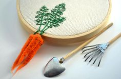 Munich-based artist Veselka Bulkan (previously) continues to craft these whimsical veggies that dangle from embroidery hoops. Each piece is an amalgam of embroidered leaves affixed to felted carrots, beets, radishes and other colorful roots. Bulkan sells many of her creations via her online shop