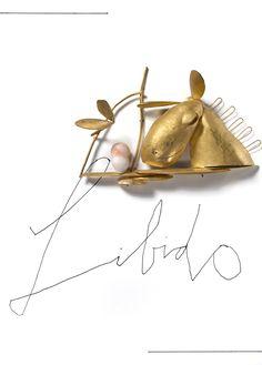 Manfred Bischoff, Libido, 2012, brooch, fine gold (900), Hawaiian coral, 20 x 30 cm, photo: Federico Cavicchioli