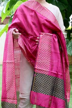 Gorgeous Woven Dupion Silk Dupatta | India1001.com