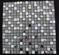 SPARKLY Silver Mosaic White Marble Glass Steel tiles backsplash Kitche – Factory Mosaic