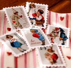 Old Fashioned Be My Valentine Stamps by psitsinthedetails on Etsy