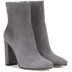 Gianvito Rossi Suede Ankle Boots ($860) ❤ liked on Polyvore featuring shoes, boots, ankle booties, grey, suede boots, grey suede boots, suede bootie, gray booties and grey boots