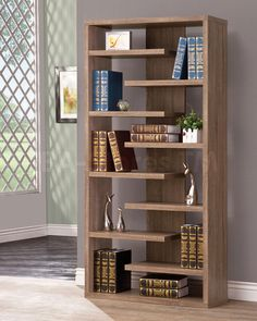 Brown Bookcase with a Slatted Shelf Design