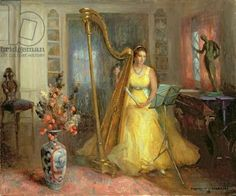 The Harpist (oil on canvas)