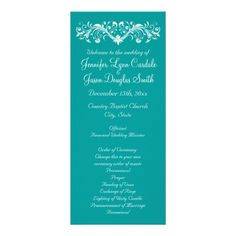 Elegant Flourish Teal Turquoise Aqua Blue Wedding Programs. Two Sided vertical program.