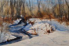 """Winter Woods""  15x22 Transparent Watercolor,  Sandra L. Strohschein,   Original,  Available.  sandystrohs@gmail.com"