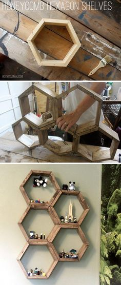 40 Easy WoodWorking Projects and Ideas for Beginners - Honeycomb shelves, Easy woodworking projects, Diy home decor on a budget, Wood diy, Woodworking pro - Easy Woodworking Projects, Diy Wood Projects, Woodworking Plans, Custom Woodworking, Popular Woodworking, Woodworking Furniture, Furniture Plans, Intarsia Woodworking, Woodworking Ideas For Beginners