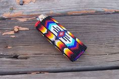 Native American Beaded Lighter Cover WARRIOR by CheyenneNoon