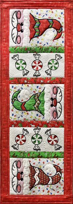 Machine Applique, Table Runners, Peppermint, Embroidery Designs, Santa, Sewing, Projects, Mint, Log Projects