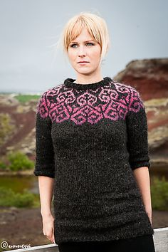 Ravelry: Sjón pattern by Hulda Hakonardottir love these colors! Fair Isle Knitting Patterns, Knitting Machine Patterns, Fair Isle Pattern, Sweater Knitting Patterns, Knitting Yarn, Knit Patterns, Icelandic Sweaters, Wool Shop, Sweater Design