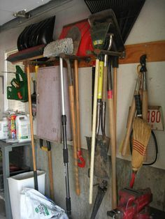 Garden Tool Shed Garage Shovel Rake Storage Rack Holder Kitchen