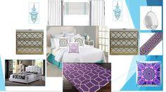 My favorite niece's newly designed bedroom! #EWD #elainewilliamsondesigns #turquoise #purple #teen #bedroom #rug #greekkey #overlays #malm #trinaturk #bubblechair