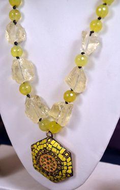 Designer Handcrafted Set - Onyx Lemon Rocks and Tibetan Design Metal Pendant #Necklace