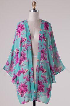 Mint Floral Chiffon Kimono Chiffon Kimono, Floral Chiffon, Kimono Cardigan, Kimono Top, Comfy Casual, Ankara Styles, Kimono Fashion, Style Me, Cute Outfits