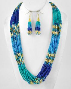 Turquoise Blue Mix & Gold Multi Strand Layered Seed Bead Necklace & Earring Set