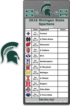 Get your 2016 Michigan State Spartans Football Schedule App for Mac OS X - Eat Em Up! - National Champions 1966, 1965, 1957, 1955, 1952, 1951 http://2thumbzmac.com/teamPages/Michigan_State_Spartans.htm