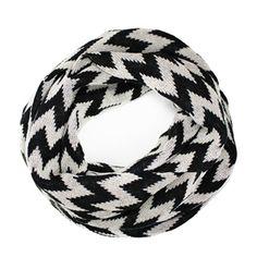 Chevron Knit Infinity Scarf - Black