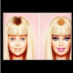 Barbie without makeup. I just died lol To be a little more realistic no-make up barbie needs at least a couple lashes. Still funny though :) Jane Fonda, Barbie Makeup, Makeup Toys, Makeup Stuff, Make Up Videos, Pat Mcgrath, Without Makeup, Celebs, Celebrities