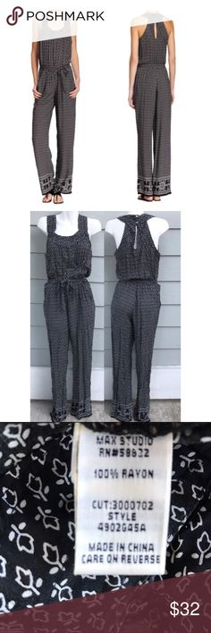 Max Studio Raw Edge Woven Border Jumpsuit In good condition Max Studio Pants Jumpsuits & Rompers