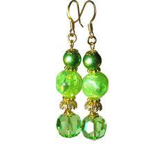 Handmade Juicy Lime Green Earrings Vintage Bead by BluKatDesign