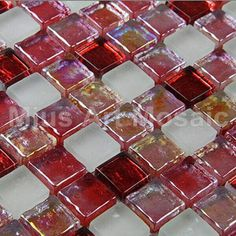 White & iridescent red  glass mosaic   for kitchen backsplash D1FN2036 - ICON2 Luxury Designer Fixures  White #& #iridescent #red # #glass #mosaic # # #for #kitchen #backsplash #D1FN2036