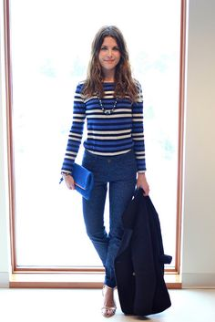 Stripes! Blue outfit by Lauren H Craig
