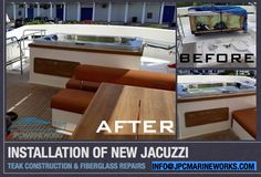 Installation of new Jacuzzi Before and After pictures  First we installed the jacuzzi, making sure it was hooked up to work properly, the jacuzzi was then secured in place with fiberglass, then teak woodwork was added to make it a seamless addition to this beautiful motor yacht.  info@jpcmarineworks.com www.jpcmarineworks.com #yacht #fiberglass #teak #beforeandafter #jpcmarineworks