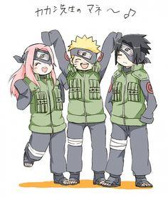 Tags: NARUTO, Haruno Sakura, Uzumaki Naruto, Uchiha Sasuke, Team 7, Arms Up