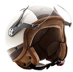 SOXON SP-325 Urban creme - Jet Vespa Scooter Motorcycle Moto Helmet Pilot Leather Urban - M (57-58cm)