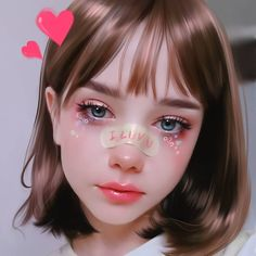 The cool digital anime girl:) Digital Art Girl, Digital Portrait, Portrait Art, Kawaii Makeup, Cute Makeup, Kawaii Anime Girl, Anime Art Girl, Aesthetic Makeup, Aesthetic Girl