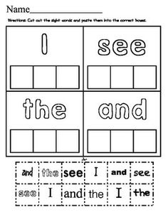 Sight Word Make a Match! Color the sight word, cut and paste the sight words to match! I LOVE how the different fonts help students read and recognized words in a variety of printed and published styles! Preschool Sight Words, Learning Sight Words, Dolch Sight Words, Sight Word Worksheets, Sight Word Practice, Sight Word Activities, Work Activities, Printable Worksheets, Free Printable
