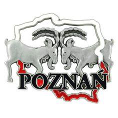 Aimant frigo en métal Poznań Chèvres. Un aimant métallique en forme de contour polonais, avec l'image de deux belles chèvres et l'inscription Poznań. #poznan #aimant #aimantderéfrigérateur