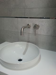 VADO Origins wall mounted basin mixer in brushed nickel on display at Baths on Broadway, Potters Bar. A stunning neutral bathroom that would gently awaken and refresh the senses!