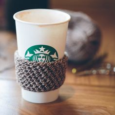 Coffee Cozy: the best project for beginners. Tutorial, but instruction at end for experienced people.