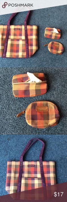 Longaberger Maroon Gingham  Handbag Longaberger longaberger Collection