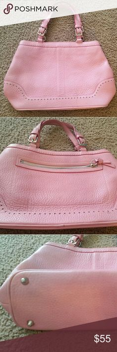 AUTHENTIC Coach handbag!! Beautiful and used very gently, maybe carried 4 times at most! Gorgeous color, beautiful leather in a light pastel pink color! No shoulder straps! No trades! As always, offers are welcomed! Coach Bags Satchels