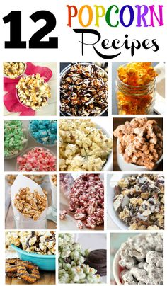 12 of the best flavored popcorn recipes out there! Really easy recipes to make caramel, peanut butter and other flavored popcorn recipes. Popcorn Snacks, Candy Popcorn, Gourmet Popcorn, Popcorn Balls, Jello Popcorn, Sugar Popcorn, Chocolate Popcorn, Yummy Snacks, Snack Recipes