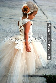 Fantastic - so cute Custom Made Champagne Flowergirl Dress. Corset top, tutu skirt with train and hair clip. | CHECK OUT MORE GREAT FLOWER GIRL AND RING BEARER PHOTOS AND IDEAS AT WEDDINGPINS.NET | #weddings #wedding #flowergirl #flowergirls #rings #weddingring #ringbearer #ringbearers #weddingphotographer #bachelorparty #events #forweddings #fairytalewedding #fairytaleweddings #romance
