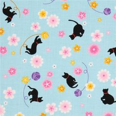 light blue Sakura cat Japan cotton fabric structured
