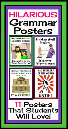 If you are a teacher who loves a good grammar joke, these posters are for you. Not only will these 11 posters make you laugh, but they will also help to brighten up your classroom! My students really get a kick out of these (if they get the joke of course!).