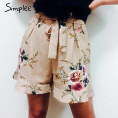 0440780f18 Simplee Casual floral print ruffle shorts. Ladies summer beach drawstring  bow belt shorts with Pocket zipper