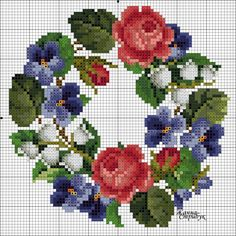 Roses, violets, & lily of the valley wreath chart