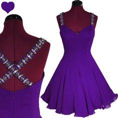 Dress Vintage 80s PURPLE Full Skirt SILK Chiffon by pinupdresses